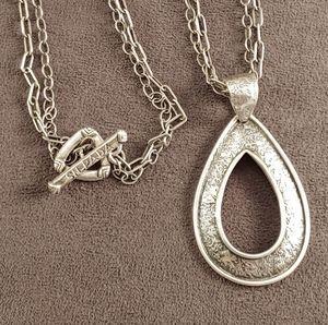 Silpada Tear Drop Sterling Pendant Double Chain